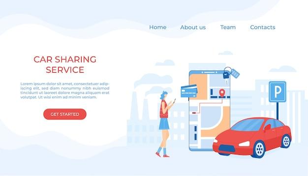 Autodelen en online taxiserviceconcept. mobiele applicatie voor het huren van een auto en het bellen van een taxi