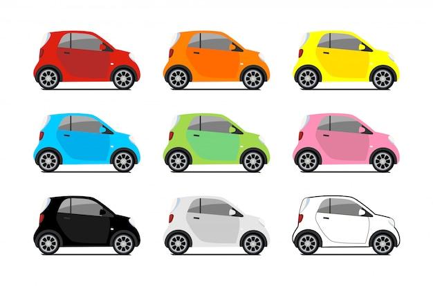 Autodelen logo's, vector stad micro auto set. de pictogrammen van het ecovoertuig isoleerden wit