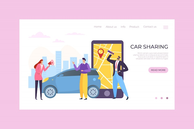 Autodelen mobiele app service, illustratie. online bestelling en kaart op smartphone, mensen karakter huren transport online.