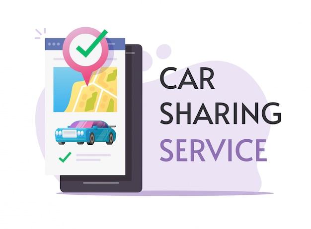 Autodelen verhuur via mobiele telefoon service online banner of carsharing club voor autohuur met smartphone