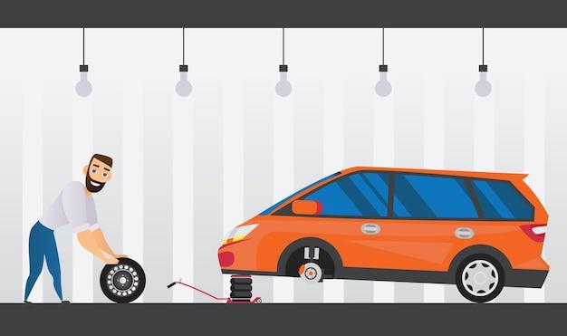 Autodienst vlakke samenstelling met technicus die het wiel verwisselt