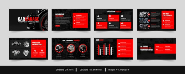 Autogarage of autoservices powerpoint-sjabloonontwerp