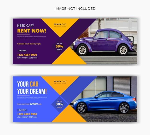 Autohuur verkoop sociale media plaatsen facebook omslag tijdlijn