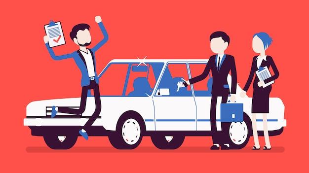 Autolening goedgekeurd. gelukkige jonge man verliet toen hij een bankautorisatie, klant en agenten kreeg na documentacceptatie, springend van vreugde om een nieuwe auto te krijgen. illustratie met gezichtsloze karakters