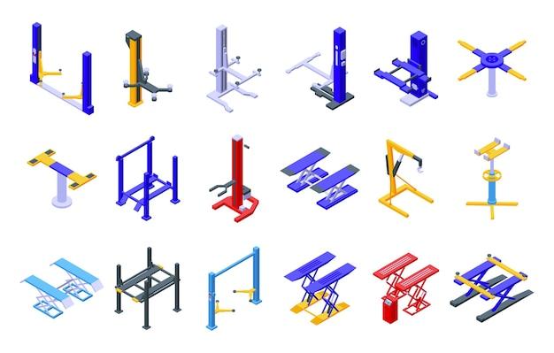 Autolift pictogrammen instellen. isometrische reeks autoliftpictogrammen voor web dat op witte achtergrond wordt geïsoleerd