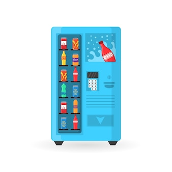Automaat met fastfood-snacks, drankjes, noten, chips, cracker, sap, sandwich.