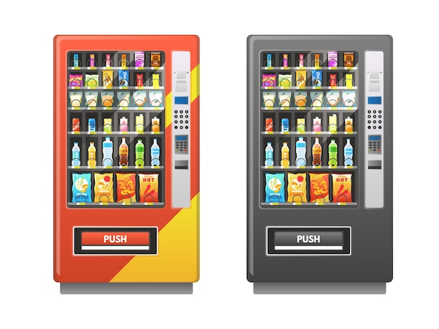 Automaat. snacks sandwich biscuit chocolade dranken sap dranken pack, verkoop retail mechanisme, platte vectorillustratie