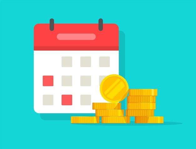 Automatisch terugkerend betalingsschema op kalender of agenda voor belastingaangifte budgetplanning