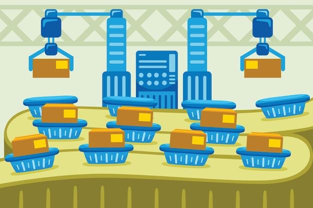 Automatische fabrieksindustrie in vlakke stijl
