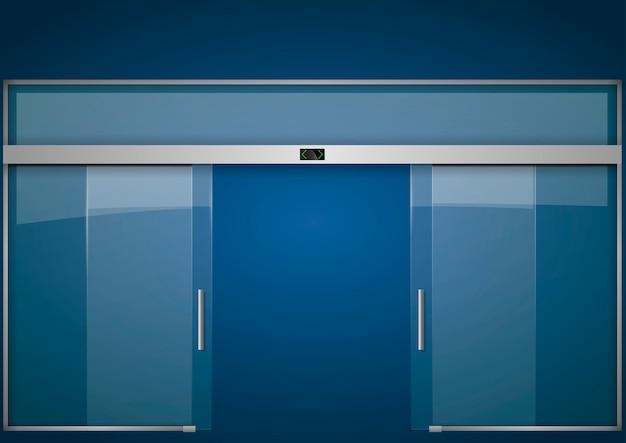 Automatische Glazen Deuren.Dubbele Glazen Deur Transparante Vector Sjabloon Vector Gratis