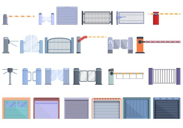 Automatische poort pictogrammen instellen. cartoon set automatische poort vector iconen voor webdesign