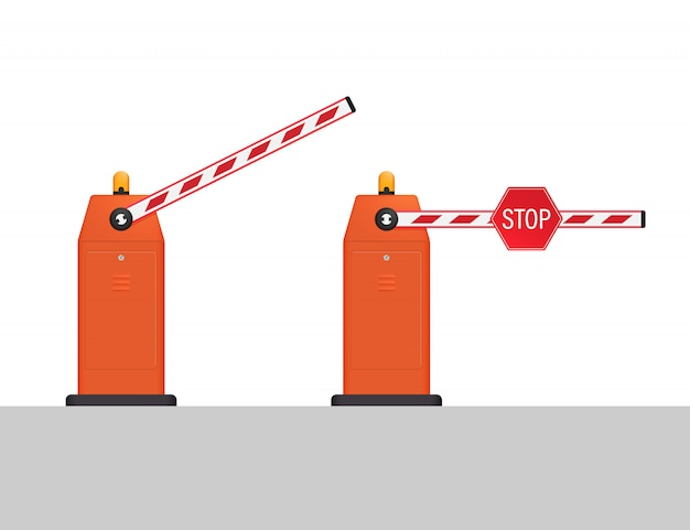 Automatische slagboom, open en gesloten met een stopbord. gesloten grenzen.