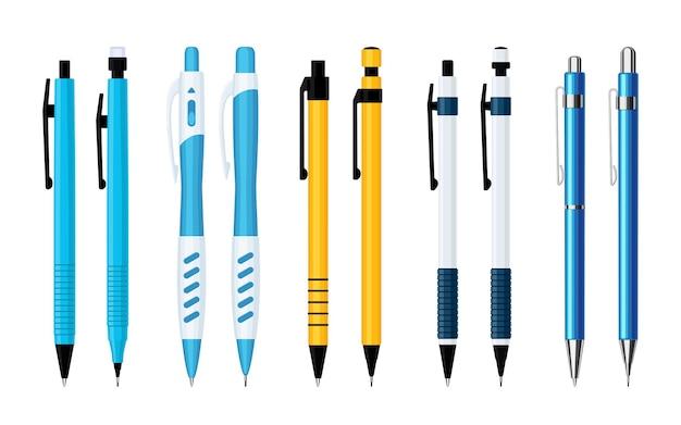 Automatische veer balpennen en vulpotloden set van verschillende uitvoeringen. verzameling van hulpmiddelen voor schrijven en schilderen. platte vectorillustratie geïsoleerd op een witte achtergrond