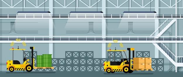 Automatische vorkheftruck auto rijden vracht en goederen