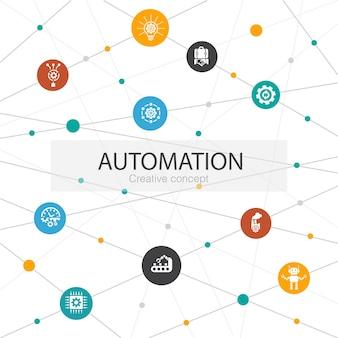Automatisering trendy websjabloon met eenvoudige pictogrammen. bevat elementen als productiviteit, technologie, proces, algoritme