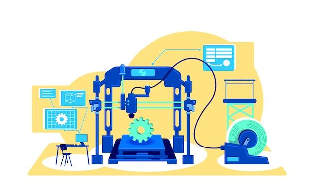 Automatisering van productie platte concept illustratie