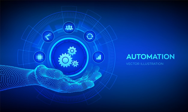 Automatiseringspictogram op robotachtige handachtergrond