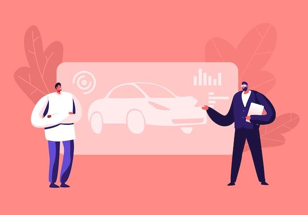 Automobielontwikkeling en -creatieprojectie. cartoon vlakke afbeelding