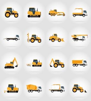 Automobielvervoer voor reparatie en bouw vlakke pictogrammen vectorillustratie
