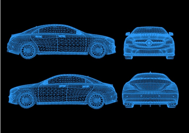 Automodel carrosseriestructuur, draadmodel