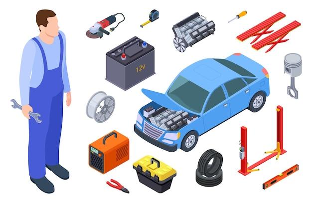 Automonteur en autogereedschap. isometrische technicus, auto-industriële apparatuur, auto vectorelementen. auto autoreparatieservice, illustratie automonteur