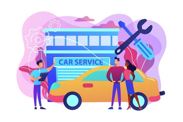 Automonteur en zakenmensen bij autoservice die hun auto laten repareren. autoservice, auto reparatiewerkplaats, voertuig reparatie dienstverleningsconcept. heldere levendige violet geïsoleerde illustratie