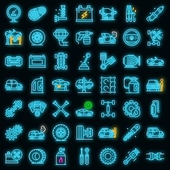 Automonteur pictogrammen instellen. overzicht set van automonteur vector iconen neon kleur op zwart