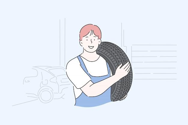Automonteur, reparateur, onderhoudsservice voor transport. man in blauwe uniform werken op auto servicecentrum, banden montage, veranderen wiel, repareren van voertuigen. eenvoudig plat
