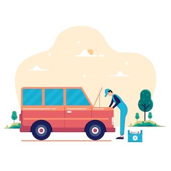 Automonteur werken in auto reparatie service