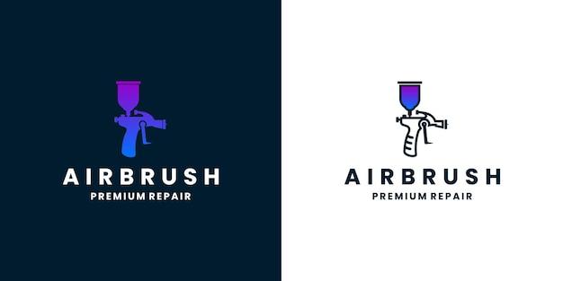 Automotive reparatie verf logo ontwerp air brush verf