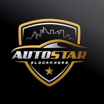 Automotive, stadsauto, autoservice, autoshowroom, autoreparatie en speed automotive-logo