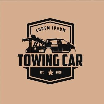 Automotive trekkende auto vintage label logo ontwerp