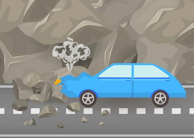 Autoneerstorting en ongevallen op weg vectorillustratie. beschadigde en gebroken automobiele scène van carshauto onder bergen en grijze rotsenaffiche.