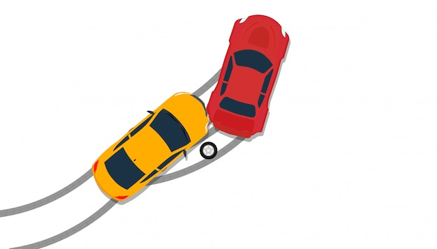 Autoneerstorting ongeval bovenaanzicht verzekering illustratie.