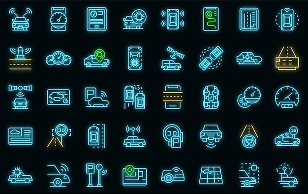 Autonome auto pictogrammen instellen vector neon