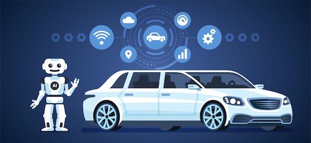 Autonome auto. zelfrijdende auto met robot en pictogrammen. artificia