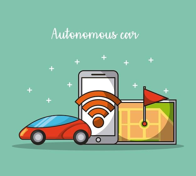 Autonome auto-zelfrijdende mobiele applicatie transportdienst