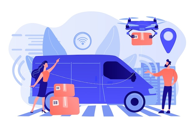 Autonome bestelwagen met sensoren en drone die pakket bezorgt. autonome koerier, bezorgservice zonder bestuurder, modern concept van pakketdiensten