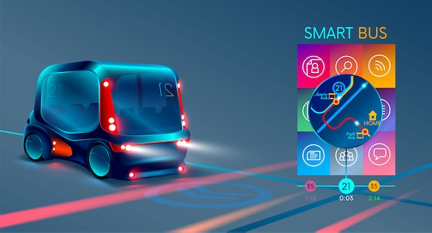 Autonome elektrische slimme bus of minibus,