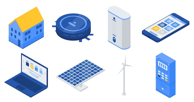 Autonome huis iconen set, isometrische stijl