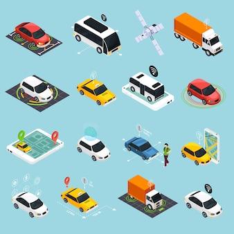 Autonome voertuig isometrische icons set