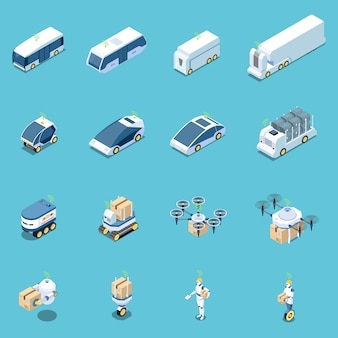 Autonome voertuigen en robots isometrische set