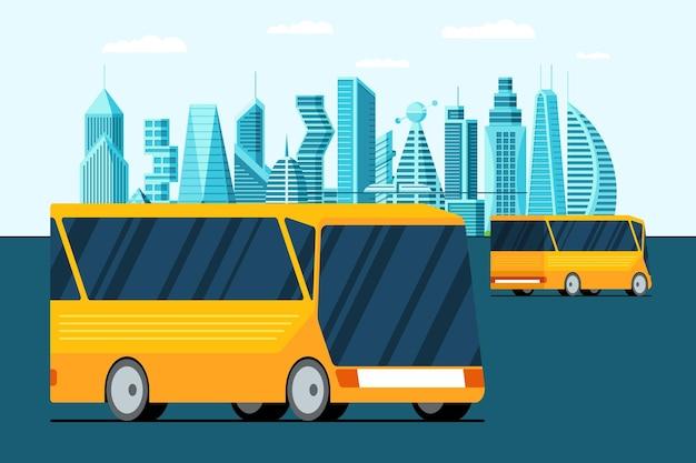 Autonoom onbemand onbemand geel busvoertuig op toekomstige stadsstraat slimme stadsgezicht stedelijke eco vervoer vectorillustratie