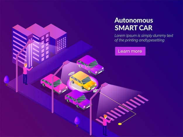 Autonoom smart car websjabloonontwerp.