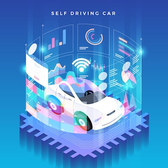 Autonoom zelfrijdend autosensoren smart car voertuigtechnologie zonder bestuurder