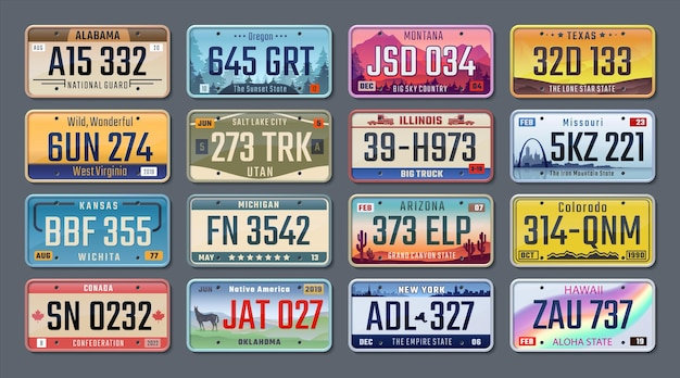 Autoplaten. amerikaanse registratienummers van verschillende staten, kentekenplaten van voertuigen. vector geïsoleerde illustratie