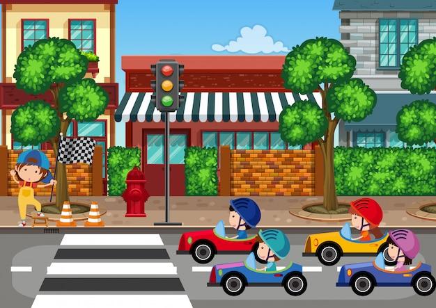 Autoracen in de stad