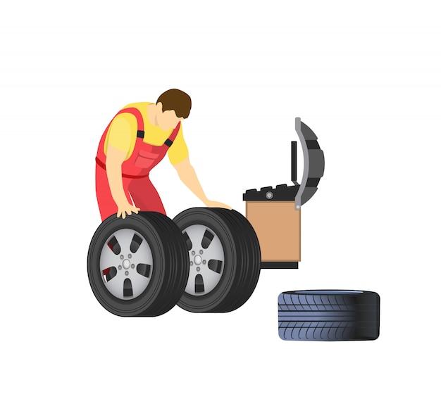 Autoreparatieservice, monteur reparateur en banden