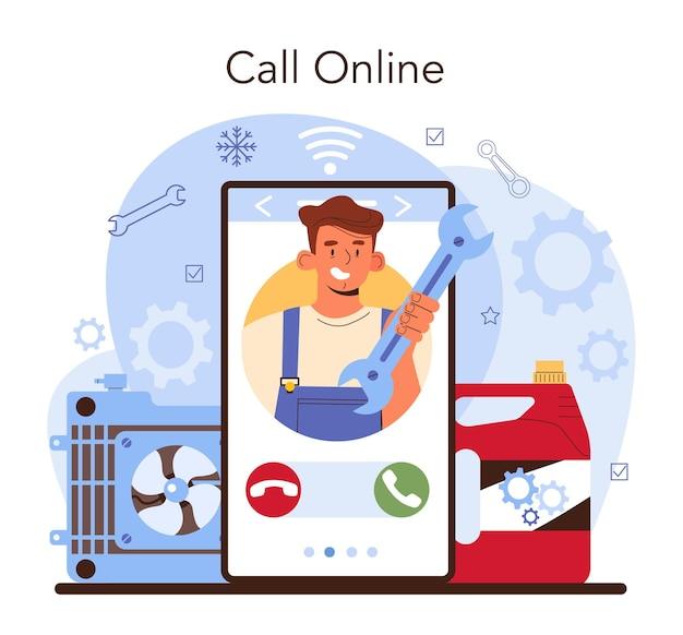 Autoreparatieservice online service of platform. auto koelsysteem en elektrische apparatuur zijn gerepareerd. online bellen. platte vectorillustratie