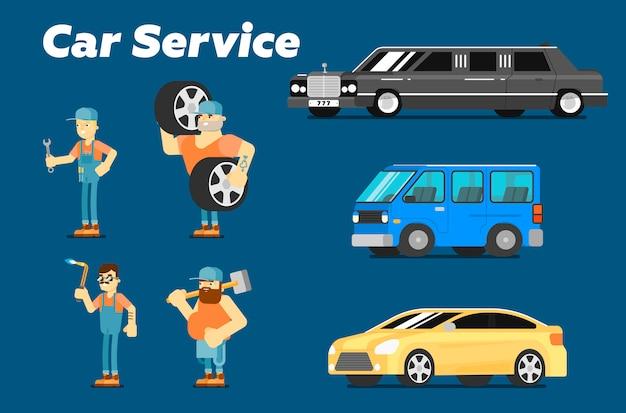 Autoreparatieservice, personages en auto's